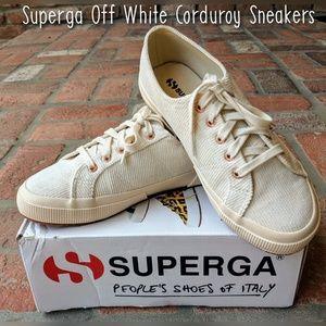 NIB Superga Corduroy Ivory/Gold Sneakers, Sz 7.5